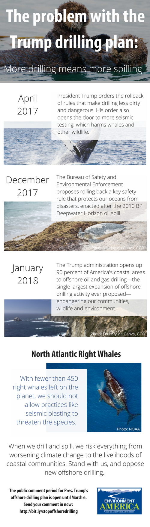 The Trump administration has taken many steps to increase offshore drilling since Pres. Trump took office. See our graphic for an explanation, and a way to take action to stop dirty and dangerous drilling.