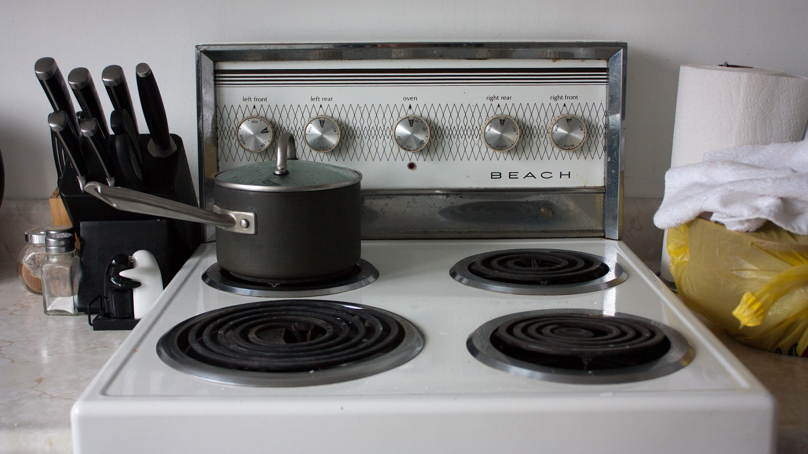 stove with pot of water