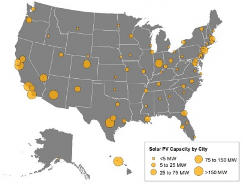 Shining Cities 2018 How Smart Local Policies Are Expanding Solar - Solar-map-of-the-us